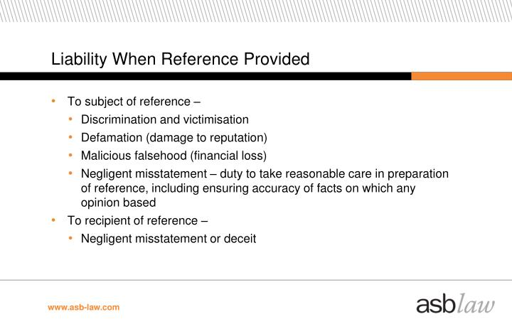 Liability When Reference Provided