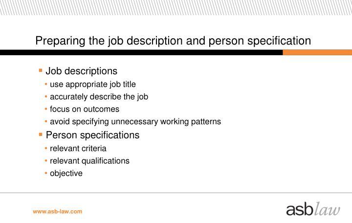 Preparing the job description and person specification