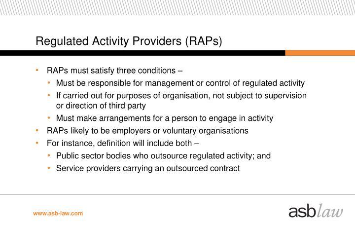 Regulated Activity Providers (RAPs)