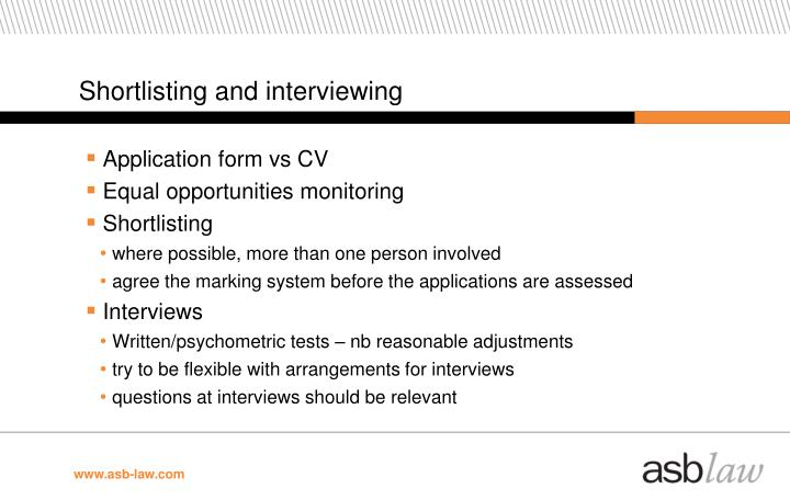 Shortlisting and interviewing