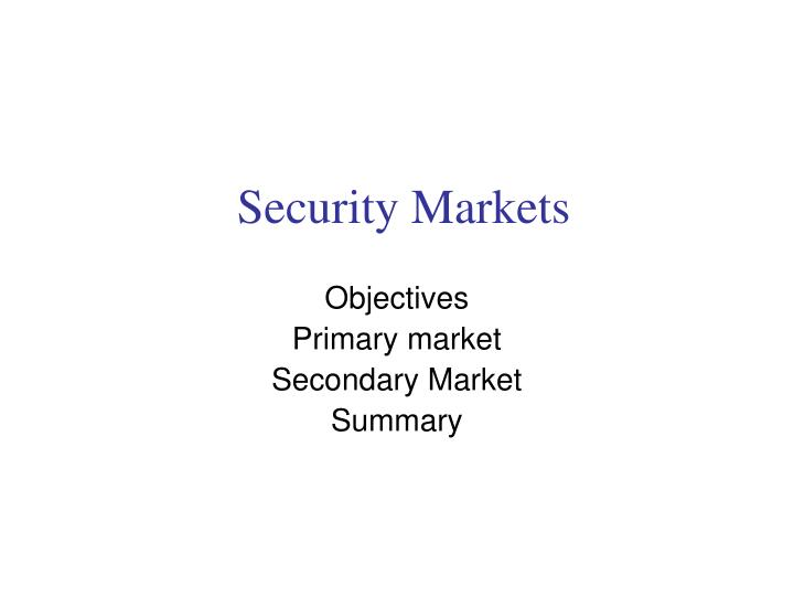 security markets n.