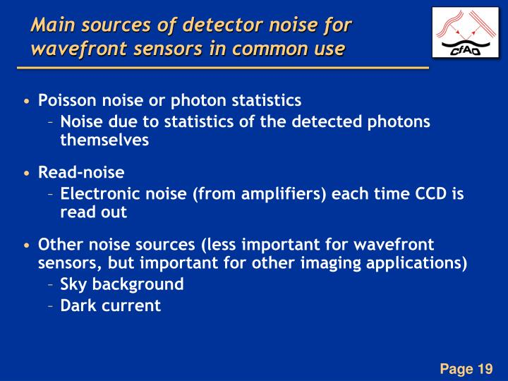 Main sources of detector noise for wavefront sensors in common use
