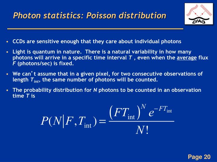 Photon statistics: Poisson distribution