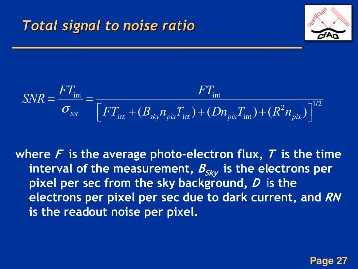 Total signal to noise ratio