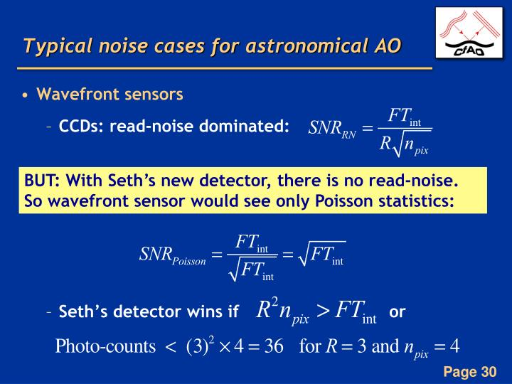 Typical noise cases for astronomical AO