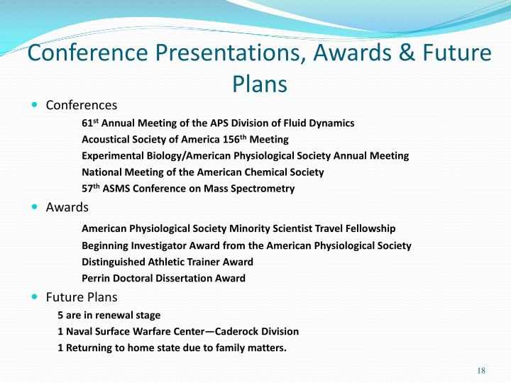 Conference Presentations, Awards & Future Plans