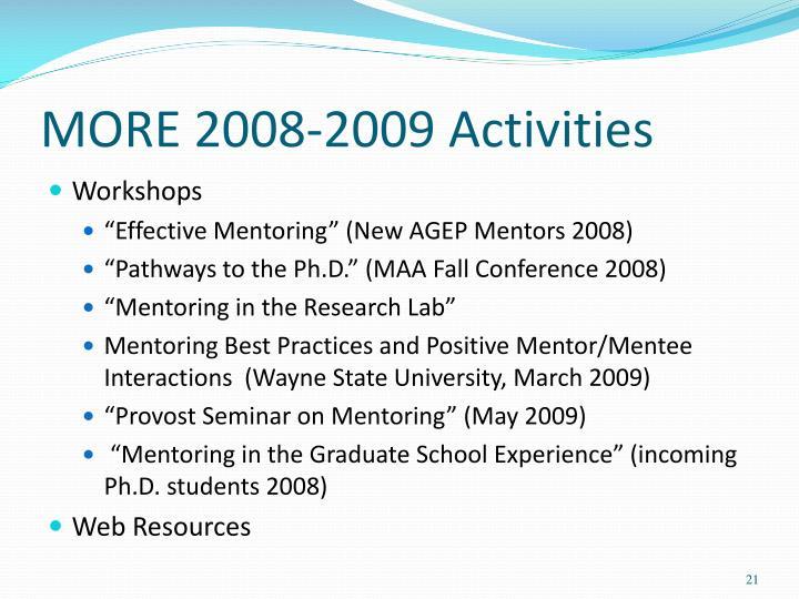 MORE 2008-2009 Activities