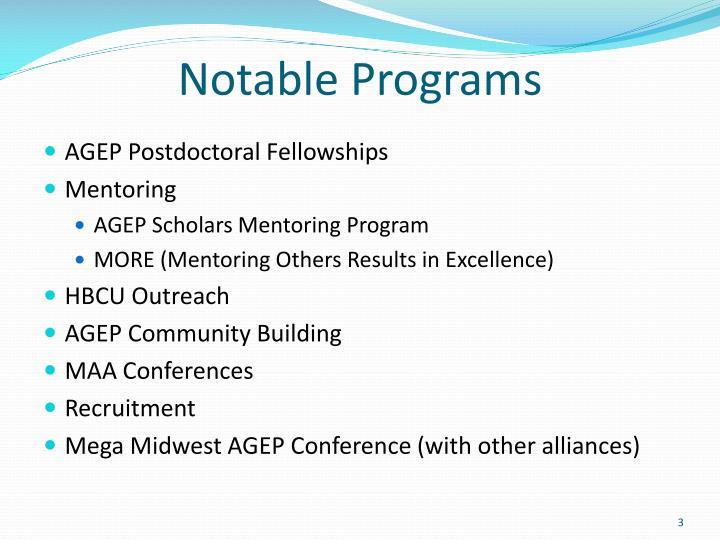 Notable programs