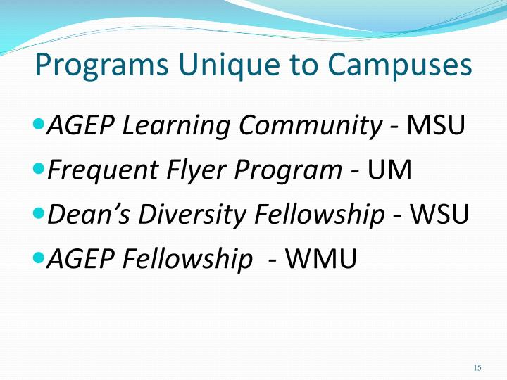 Programs Unique to Campuses