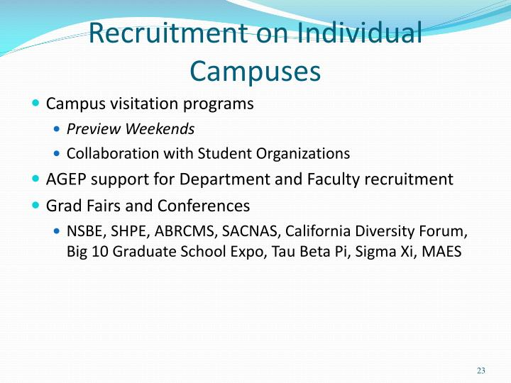 Recruitment on Individual Campuses
