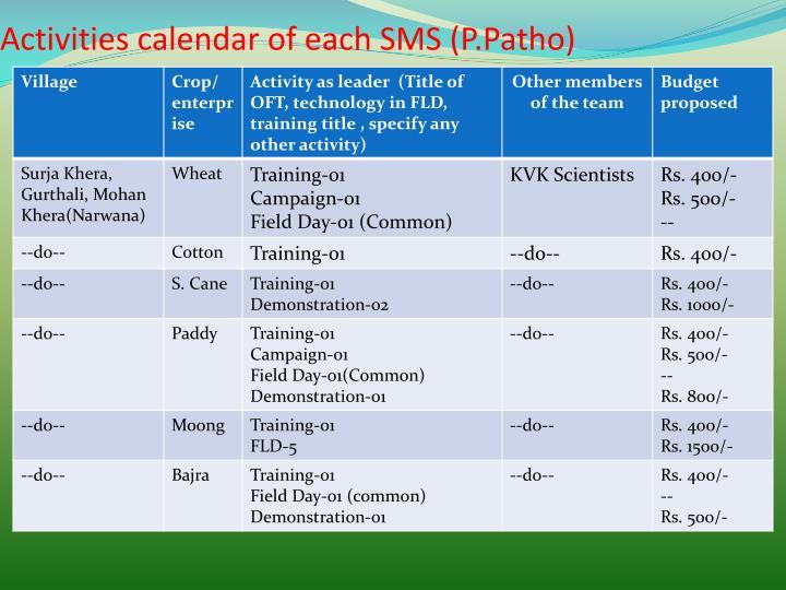 Activities calendar of each SMS (