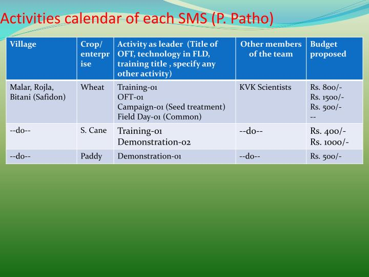 Activities calendar of each SMS (P.