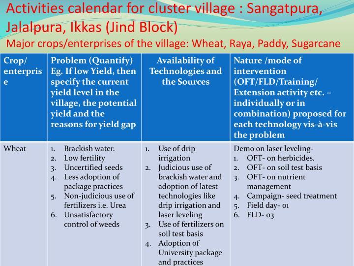 Activities calendar for cluster village :