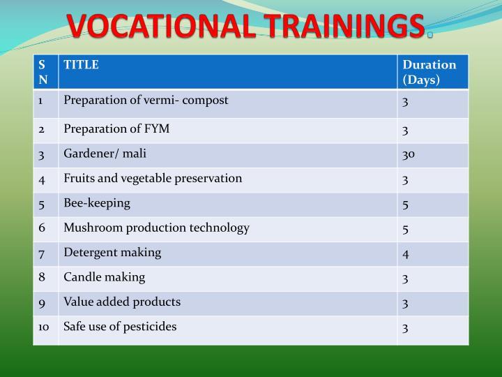 VOCATIONAL TRAININGS