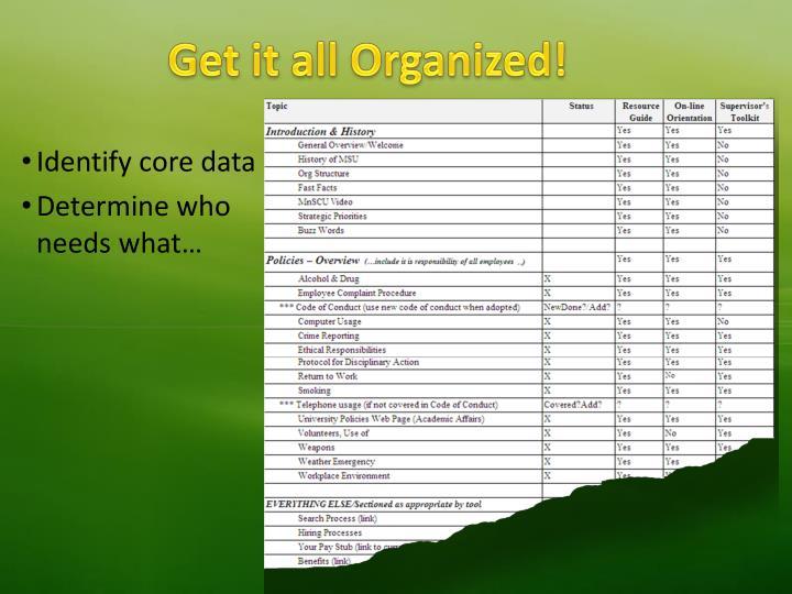 Get it all Organized!