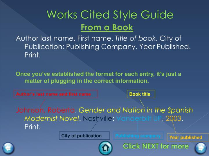 Works Cited Style Guide