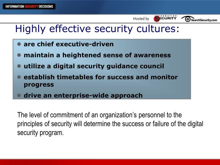 Highly effective security cultures: