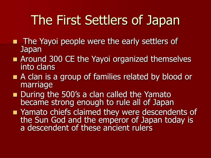 The first settlers of japan