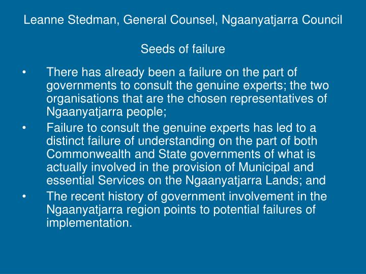 Leanne Stedman, General Counsel, Ngaanyatjarra Council