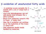 b oxidation of unsaturated fatty acids