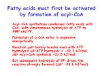fatty acids must first be activated by formation of acyl coa