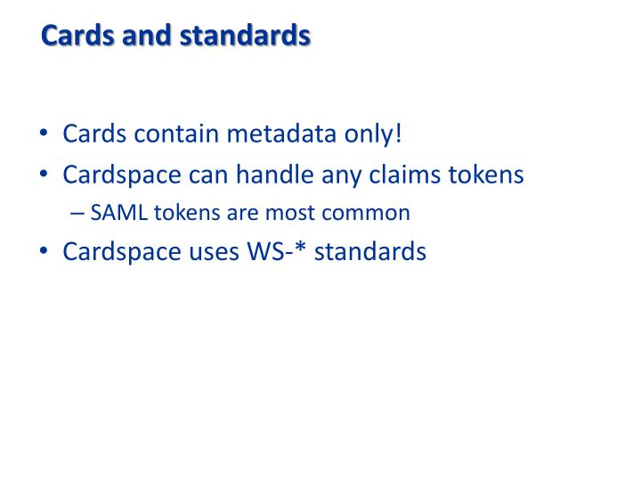 Cards and standards