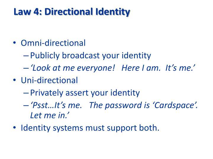 Law 4: Directional Identity
