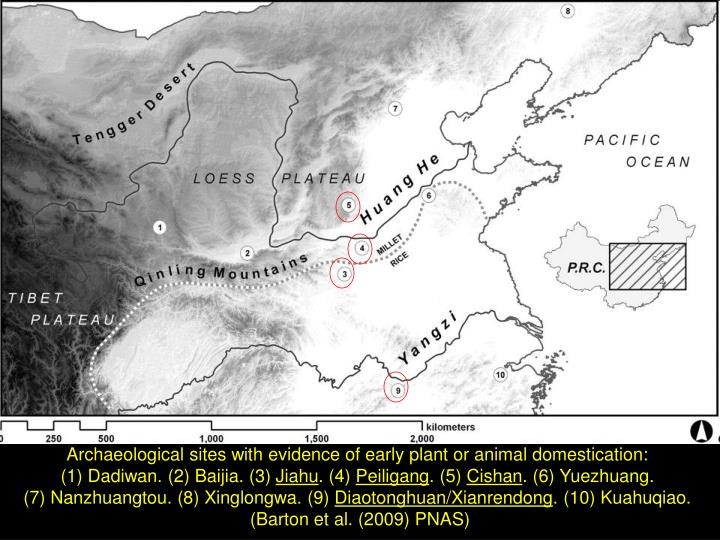 Archaeological sites with evidence of early plant or animal domestication: