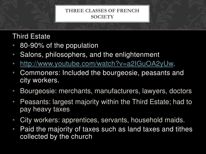 Three classes of french society