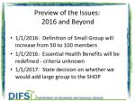 preview of the issues 2016 and beyond