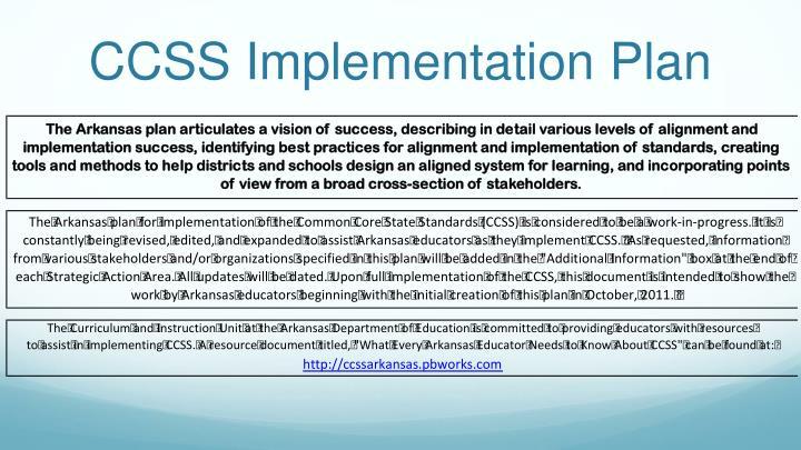 Ccss implementation plan
