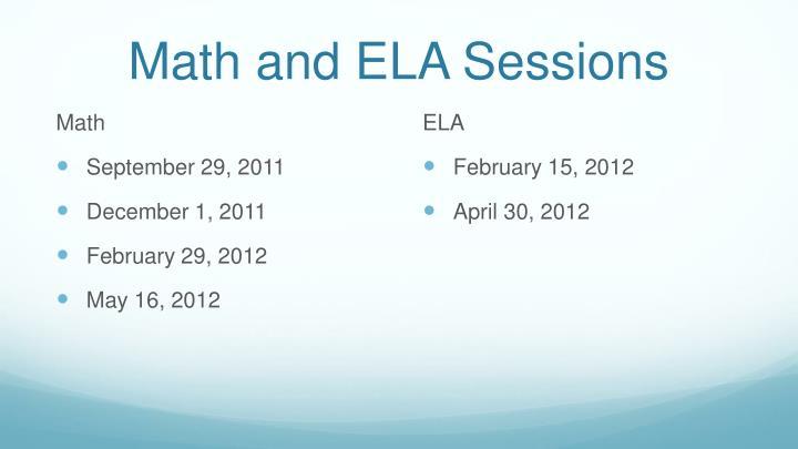 Math and ELA Sessions