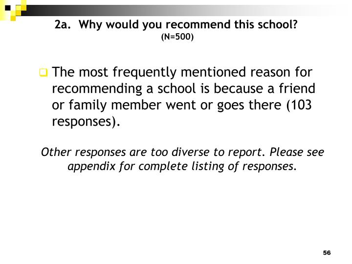 2a.  Why would you recommend this school?