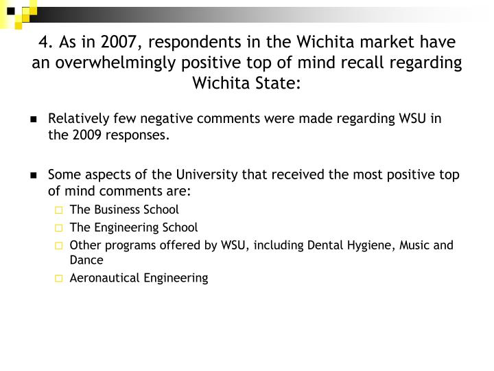 4. As in 2007, respondents in the Wichita market have an overwhelmingly positive top of mind recall regarding Wichita State: