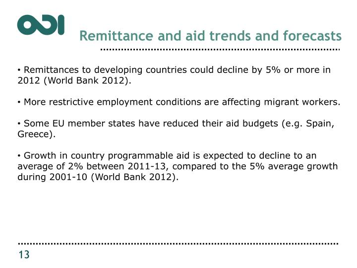 Remittance and aid trends and forecasts