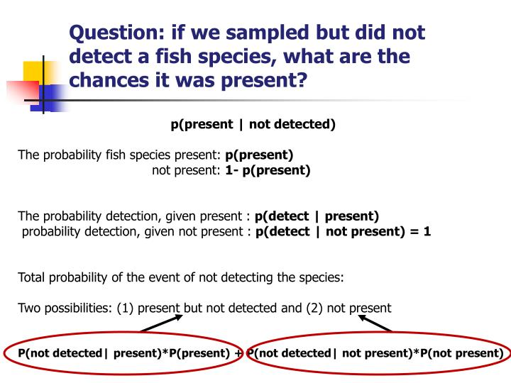 Question: if we sampled but did not detect a fish species, what are the chances it was present?