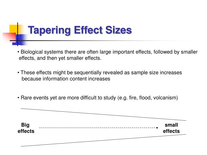 Tapering Effect Sizes