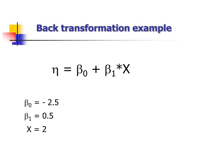 Back transformation example