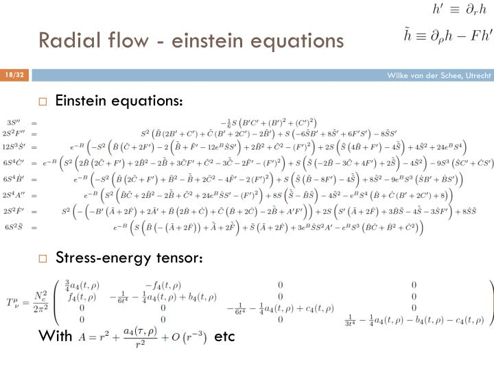 Radial flow - einstein equations
