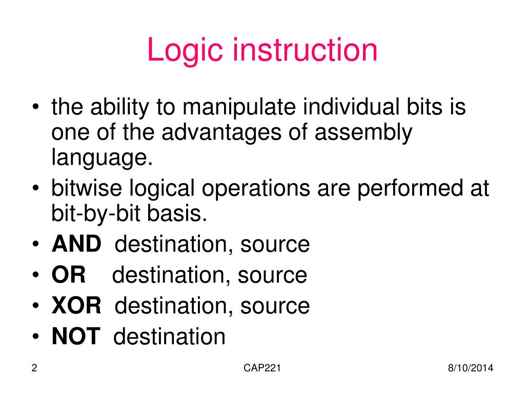 PPT - Logic, Shift, and Rotate instructions PowerPoint Presentation