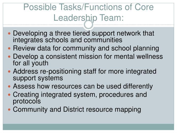 Possible Tasks/Functions of Core  Leadership Team: