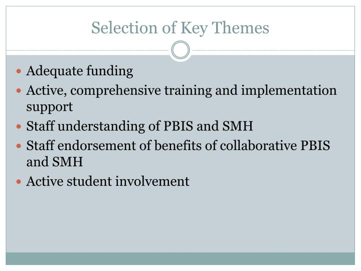 Selection of Key Themes