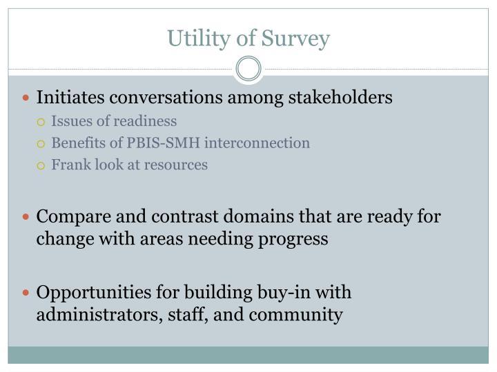 Utility of Survey