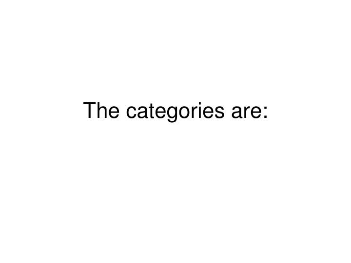 The categories are: