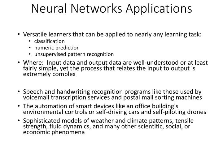 PPT - Neural Networks Applications PowerPoint Presentation