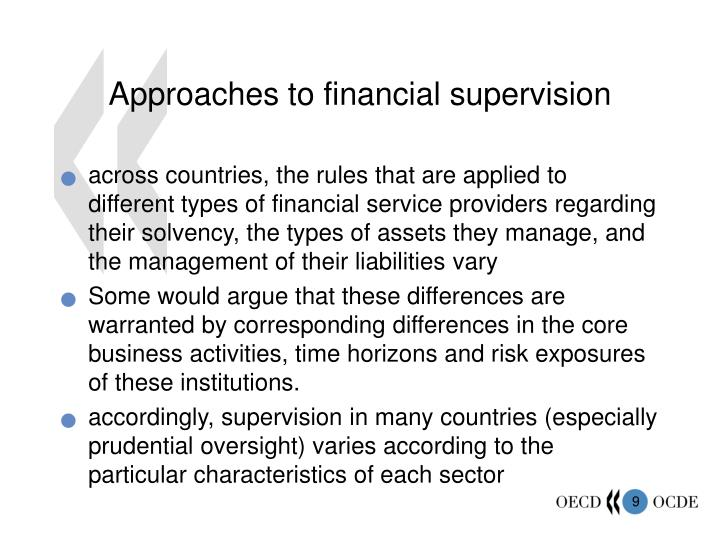 Approaches to financial supervision