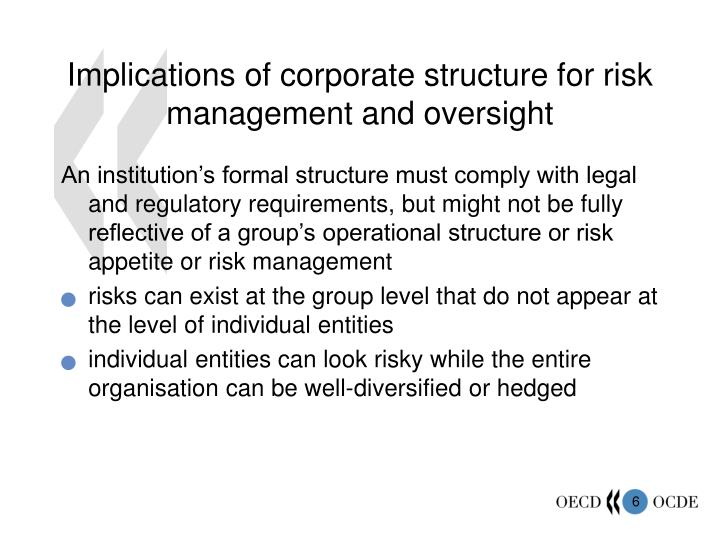 Implications of corporate structure for risk management and oversight
