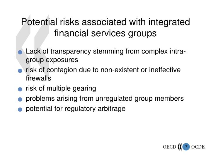 Potential risks associated with integrated financial services groups