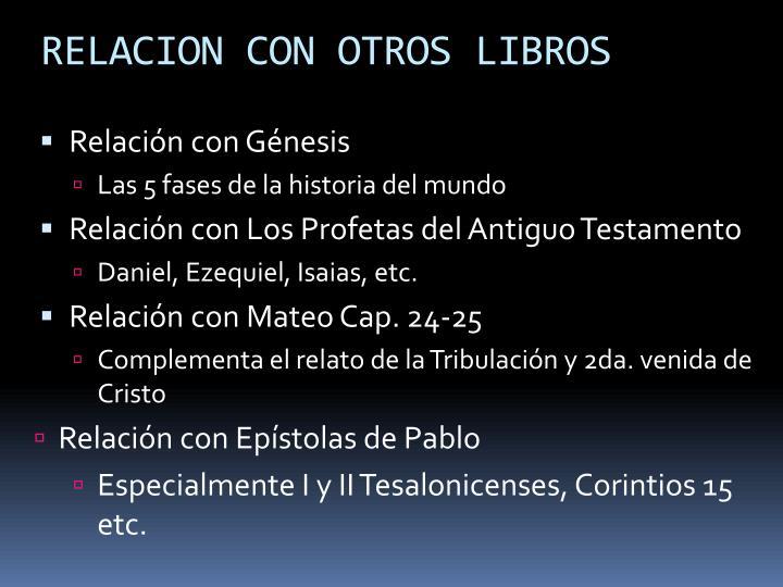 RELACION CON OTROS LIBROS