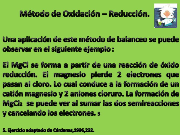 Método de Oxidación – Reducción.